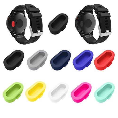 10pcs Tapónes anti-polvo para Garmin Fenix 5/5X/5S - Sannysis protección de silicona puertos y suciedad para Garmin Fenix Reloj Smartwatch colorful