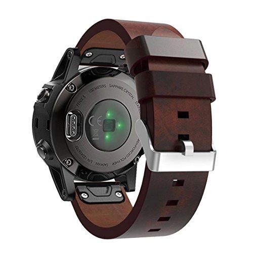 Correas para Garmin fenix 5 GPS, Sannysis banda de cuero artificial (marrón)